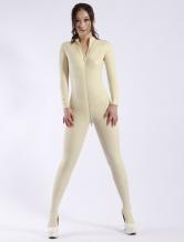 Moda Latex Catsuit Zipper branco feminino Halloween