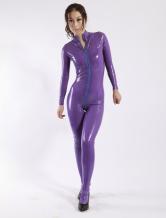 Carnevale Grazia Latex catsuit di chiusura lampo viola donne Halloween