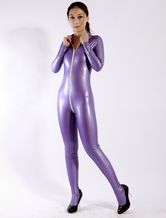 Costume Holloween Catsuit in Latex lucido viola Pullover donna Halloween