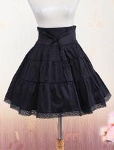 Lolitashow Black Cotton Crocheted Lace Lolita Skirt