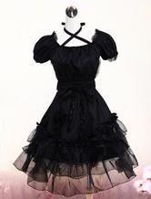 Nero Lolita Vestito con Maniche Corte Merletto di Pizzo e Lacci sul Collo