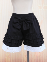Lolitashow Black Cotton Lolita Bloomers White Hollow Ruffles Trim Bow