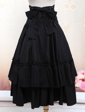 Lolitashow Gothic Lolita Dress SK Black Lace Up Ruffle Tiered Cotton Lolita Skirt