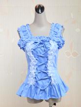 Lolitashow Sky Blue Ruffled Lolita Blouse