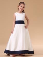 Branco sem mangas arco faixa vestido de cetim dama de honra Júnior