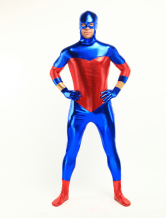 Blue And Red Shiny Metallic Catsuit with Mouth and Eyes Opened Body Suit