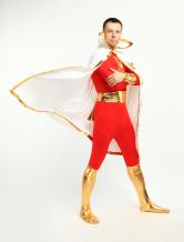 Faschingskostüm Hochwertiger The Flash Zentai Suit aus Elastan mit Cape