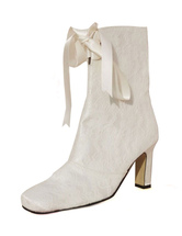 Ivory Ankle Boots Square Toe Chunky Heel Lace Bridal Boots High Heel Booties For Women