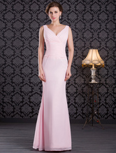 V-Neck Wrap Chiffon Beaded Floor Length Mother of the Bride Dress