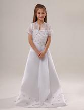 White Beaded Satin Flower Girl Dress