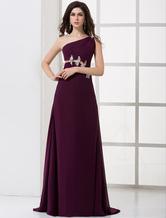 Grape One-shoulder Sweep Chiffon Prom Dress