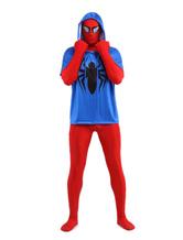 Zentai Terno Vermelho e Azul Spiderman Hero Spandex Lycra  Halloween