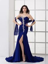 Royal Blue Chiffon Pleated Sweetheart Evening Dress