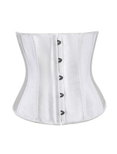 Lolitashow Simple Front Clasp Satin Plastic Boning Womens Bustier