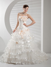Chic White Beading Strapless A-line Net Bridal Wedding Gown