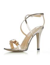 Damen Sandaletten mit Fesselriemchen und Kunstdiamanten