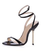 Sandales en vogue sexy à talons aigus et bout ouvert en PU verni noir avec ruban aux chevilles