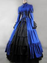 Traje do Vintage Victorian azul cetim do mulheres plissado Maxi vestido retrô de gola alta Halloween