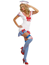 Anime Costumes AF-S2-347336 Halloween Fashion White Bow Elastic Woven Satin Sailor Costume