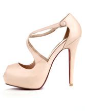 Nude Color Criss-Cross PU Peep Toe Women's Dress Sandals