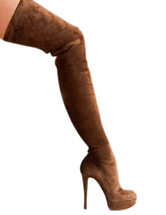 Thigh High Boots Sexy Brown Almond Toe Nubuck Woman's Over Knee Boots