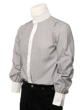 Anime Costumes AF-S2-357972 Retro Men's Shirts Steampunk Grey Striped Button Up Stand Collar Vintage Dressy Shirts