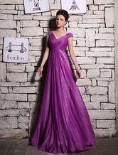 Vestido de noite sem mangas a linha de tiro-seda lilás elegante com decote em v Beading Milanoo