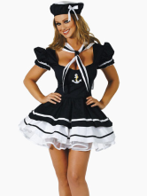 Anime Costumes AF-S2-87520 Black Halloween Acrylic Sailor Costume Sexy Gathered Bust Dress