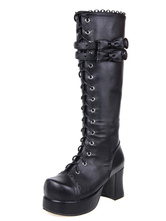 Lolitashow Black Lolita Boots Chunky Heels Platform Shoelace Straps Bows