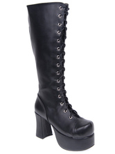 Lolitashow Matte Black Lolita Boots Chunky Heels Platform Shoelace Zip Designed