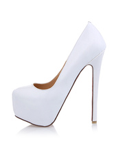 Women's White Platform Heels Patent Leather Round Toe Stiletto heel Pumps Heeled Shoes