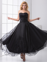 Black Strapless Backless Beaded Organza A-Line Prom Dress