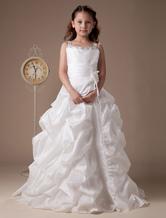 Vestito da ragazza di fiore bianco in taffettà con perline a terra