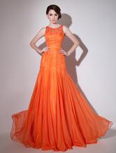 Malla naranja vestido Cut-Out Vestido de Gasa Milanoo