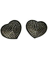 Attractive Heart Shape Black Matte Satin PU Leather Woman's Pasties