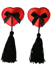 Enticing Red Bow Fringed Matte Satin PU Leather Women's Pasties