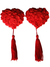 Enticing Red Roses Decorated Heart Shape Fringed Matte Satin PU Leather Woman's Pasties