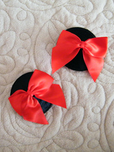 Enticing Round Split Color Bow Decorated Matte Satin PU Leather Women's Pasties