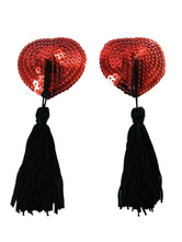 Red Heart Shape Fringed PU Leather Sequined Woman's Pasties