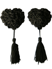Sexy Black Roses Fringed Matte Satin PU Leather Women's Pasties