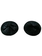 Round Black Matte Satin PU Leather Women's Pasties