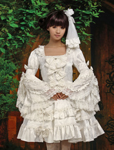 Lolitashow ホワイト ワンピース 長袖 姫袖 レーストリム フリル リボン ポリエステル