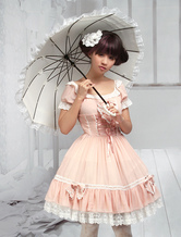 Lolitashow Sweet Pink Bow Chiffon Lolita One-Piece