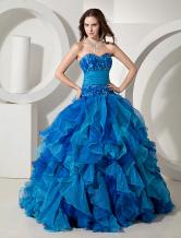 Шикарный Королевский синий тюль Quinceanera платье