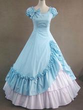 Traje do Vintage Victorian azul algodão vestido plissado retrô do mulheres Halloween