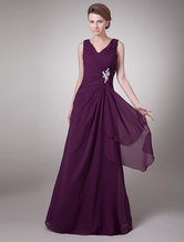 Grape Mother of the Bride Dress Embroidered Ruched Lace-up Chiffon Dress Wedding Guest Dress
