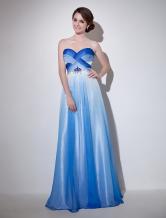 Vestido de noche de gasa de azul real con cuello de corazón  Milanoo