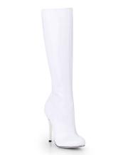 Weiße Knie Hoch Stiefel Spitz 2020 Zehe Zip Oben Patent Leder Hoch Absatz Stiefel