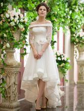 Wedding Dresses High Low Off The Shoulder Bridal Dress Organza Half Sleeve Flower Sash Bridal Gown Milanoo