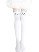 Lolitashow Harajuku White Black Velvet Lolita Thigh High Socks Cute Cats Print